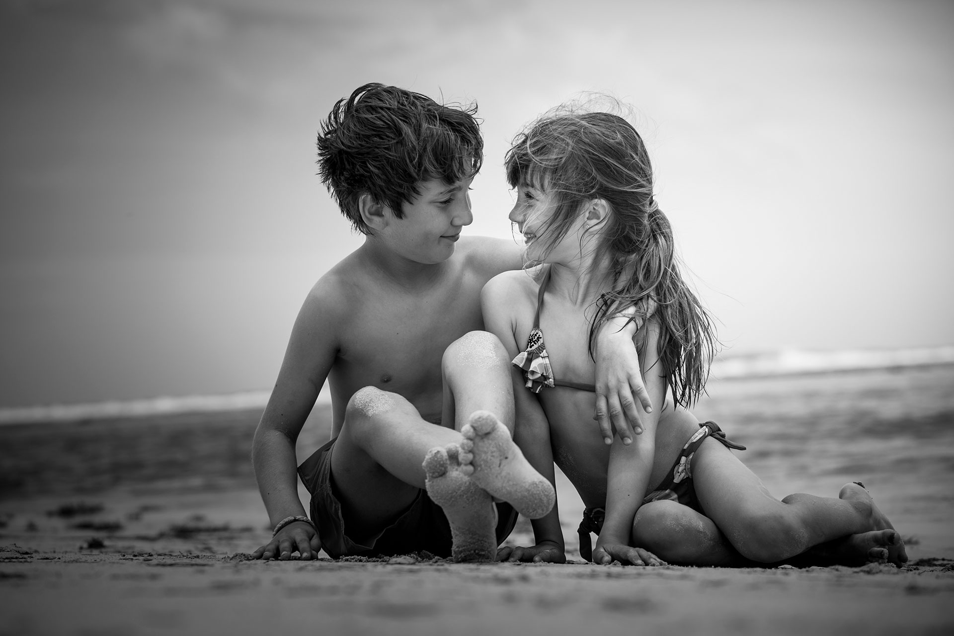Photo noir et blanc plage de guadeloupe